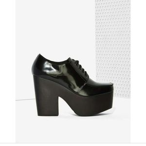 Intentionally Blank Patent Leather Platforms